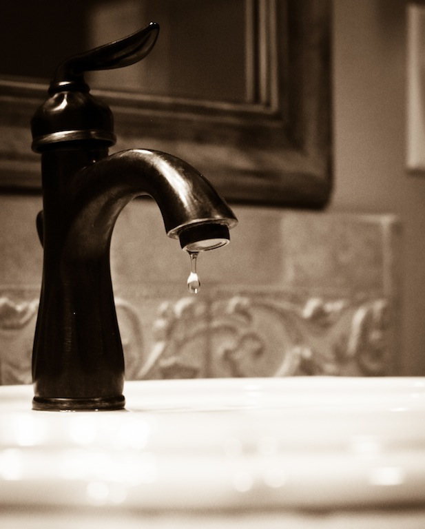 leaky faucet, sepia, less pix, VW post, 11:12