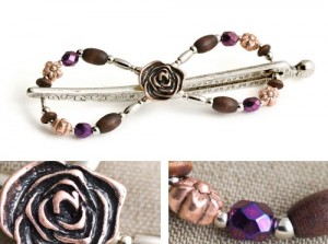 Enchanting Copper Rose clip
